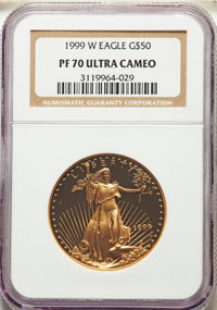 1999-W $50 One-Ounce Gold Eagle PR70 Ultra Cameo NGC. NGC Census: (781). PCGS Population: (194). CDN: $1,700 Whsle. Bid...