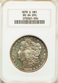 1878-S $1 MS64 Deep Mirror Prooflike NGC. NGC Census: (123/29). PCGS Population: (82/27). CDN: $1,700 Whsle. Bid for pro...