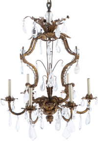 A Louis XV-Style Gilt Metal and Rock Crystal Six-Light Chandelier, early 20th century 36 x 26 x 26 inches (91.4 x