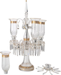 A St. Louis Thistle Pattern Partial Gilt Glass Five-Light Candelabrum, Saint-Louis-l