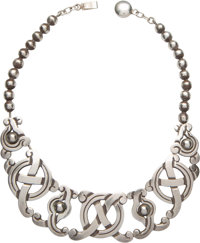 A William Spratling Silver Necklace, Taxco, Mexico circa 1940-1946 Marks: WS, SPRATLING MADE IN MEXICO, SPRATLI