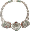 Silver Smalls, A Matilde Poulat Silver, Turquoise, and Hardstone Necklace, Mexico City, circa 1950. Marks: Matl M.REG, 142093, Patente 10...