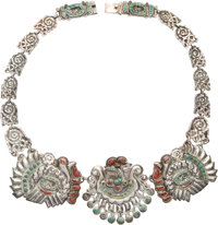 A Matilde Poulat Silver, Turquoise, and Hardstone Necklace, Mexico City, circa 1950 Marks: Matl M.REG, 142093