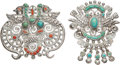 Silver Smalls, Two Matilde Poulat Silver, Turquoise, and Hardstone Brooches, Mexico City, 20th century. Marks: Matl, (various). 2 x 2-1... (Total: 2 )
