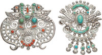 Two Matilde Poulat Silver, Turquoise, and Hardstone Brooches, Mexico City, 20th century Marks: Matl, (v