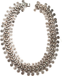 A Los Castillo Silver Necklace, Taxco, Mexico, circa 1945 Marks: LOS CASTILLO, TAXCO, MADE IN MEXICO, (