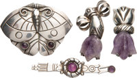 A Group of Four William Spratling Silver and Amethyst Brooches, Taxco, Mexico, circa 1944-1946 Marks: SPRATLING