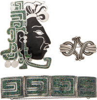 A Group of Three Margot de Taxco Silver Jewelry Pieces, Taxco, Mexico, mid-20th century Marks: MARGOT DE TAXCO