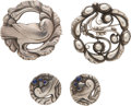 Silver Smalls, A Group of Georg Jensen Silver Jewelry with Lapis Cabochons Designed by Kristian Moel-Hansen, Copenhagen, Denmark, mid-20th ... (Total: 4 )