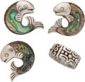 """Silver Smalls, A Group of Four William Spratling Mexican Silver Jewelry Items, Taxco, Mexico, circa 1940-1956. Marks to brooch: WS (""""Al... (Total: 4 )"""