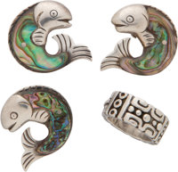 A Group of Four William Spratling Mexican Silver Jewelry Items, Taxco, Mexico, circa 1940-1956 Marks to brooch: