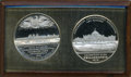 1876 Centennial International Exhibition Medal Two-Piece Presentation Set, Uncertified. 51 mm, white metal. The two meda...