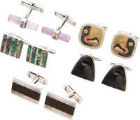 Five Pairs of Mexican Inlaid Silver Cufflinks, late 20th century Marks: (various) 1 x 3/4 x 3/4 inches (2.5 x 1