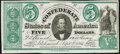 Confederate Notes:1861 Issues, CT33/250 Counterfeit $5 1861 Choice About Uncirculated.. ...
