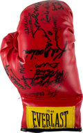 Boxing Collectibles:Autographs, 1980's Boxing Greats Multi-Signed Glove with Muhammad Ali....