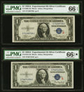 """Small Size:Silver Certificates, Fr. 1609/1610 $1 1935A """"R"""" and """"S"""" Silver Certificates. PMG Gem Uncirculated 66 EPQ/PMG Gem Uncirculated 66 EPQ★ .. ... (Total: 2 notes)"""