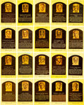 Autographs:Post Cards, Baseball Hall of Fame Signed Plaque Postcard Lot of 65....