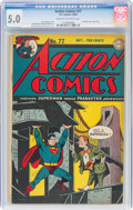 Golden Age (1938-1955):Superhero, Action Comics #77 (DC, 1944) CGC VG/FN 5.0 Cream to off-white pages....