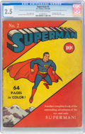 Golden Age (1938-1955):Superhero, Superman #2 (DC, 1939) CGC GD+ 2.5 Cream to off-white pages....