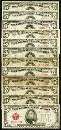 Small Size:Legal Tender Notes, Complete Series Collection $5 Legal Tender Notes Twelve Examples.. ... (Total: 12 notes)