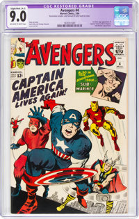 The Avengers #4 (Marvel, 1964) CGC Apparent VF/NM 9.0 Slight/Moderate (A-2) Off-white to white pages