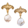 Estate Jewelry:Earrings, Freshwater Cultured Pear, Gold Earrings, Crevoshay. ...