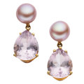 Estate Jewelry:Earrings, Rose Quartz, Cultured Pearl, Gold Earrings, Mish NY. ...