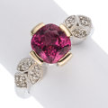 Estate Jewelry:Rings, Pink Spinel, Diamond, White Gold Ring. ...