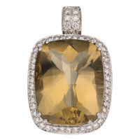 Prasiolite, Diamond, White Gold Pendant
