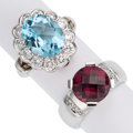 Estate Jewelry:Rings, Diamond, Garnet, Topaz, White Gold Rings. ...