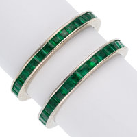 Emerald, White Gold Eternity Bands