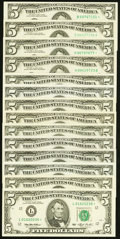 A Selection of Fourteen $5 Federal Reserve Notes and Federal Reserve Star Notes. Crisp Uncirculated or Better