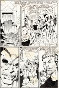 Mike Collins and Joe Rubinstein Uncanny X-Men #264 Story Page 30 Jean Grey, Beast, and Forge Original Art (Marvel