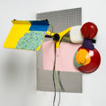 Post-War & Contemporary:Sculpture, Jessica Stockholder (b. 1959). Untitled, 1998. Mixed media, including oil paint, music stand, fluorescent light, clay, g... (Total: 2 Items)