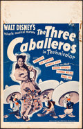 "Movie Posters:Animation, The Three Caballeros (RKO, 1945). Folded, Very Good/Fine. Window Card (14"" X 22""). Animation.. ..."