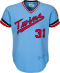 Baseball Collectibles:Uniforms, 1973-74 Jim Perry/Jim Hughes Game Worn & Signed Minnesota Twins Jersey. ...