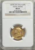 Italy:Papal States, Italy: Papal States. Pius IX gold 20 Lire Anno XXV (1870)-R MS63 NGC,...