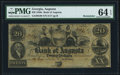 Obsoletes By State:Georgia, Augusta, GA- Bank of Augusta $20 18__ Remainder PMG Choice Uncirculated 64 EPQ.. ...