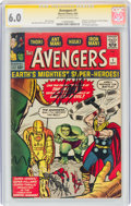 Silver Age (1956-1969):Superhero, The Avengers #1 Signature Series - Stan Lee (Marvel, 1963) CGC FN 6.0 Off-white to white pages....