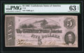 Confederate Notes:1862 Issues, T53 $5 1862 PF-10 Cr. 380 PMG Choice Uncirculated 63 EPQ.. ...