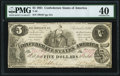 Confederate Notes:1861 Issues, T36 $5 1861 PF-4 Cr. 278 PMG Extremely Fine 40.. ...