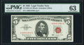 Small Size:Legal Tender Notes, Fr. 1536 $5 1963 Legal Tender Note. PMG Choice Uncirculated 63.. ...