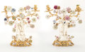 Decorative Arts, Continental, A Pair of French Louis XV-Style Gilt Bronze and Porcelain Figural Two-Light Candelabra, mid-19th century. 14 x 13 x 6 inches... (Total: 2 Items)