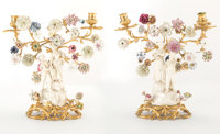 A Pair of French Louis XV-Style Gilt Bronze and Porcelain Figural Two-Light Candelabra, mid-19th century 14 x 13 x