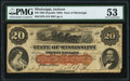 Obsoletes By State:Mississippi, Jackson, MS- State of Mississippi $20 Jan. 19, 1863 Cr. 7b PMG About Uncirculated 53.. ...