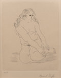 Fine Art - Work on Paper:Print, Raoul Dufy (1877-1953). Untitled (Femme nu assise), 1928. Etching on Hollande Van Gelder paper. 11 x 8 inches (27.9 x 20... (Total: 2 Items)