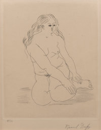 Raoul Dufy (1877-1953) Untitled (Femme nu assise), 1928 Etching on Hollande Van Gelder paper 11 x