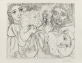 Fine Art - Work on Paper:Print, Pablo Picasso (1881-1973). Minotaur, Drinking Sculptor, and Three Models, 1933. Etching and aquatint on paper. 11-1/2 x ...
