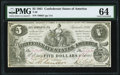 Confederate Notes:1861 Issues, T36 $5 1861 PF-4 Cr. 278 PMG Choice Uncirculated 64. . ...
