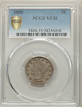 1885 5C VF35 PCGS. PCGS Population: (44/607 and 0/40+). NGC Census: (15/326 and 0/4+). CDN: $925 Whsle. Bid for problem-...